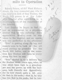 Newspaper article on surgery ABT 1921